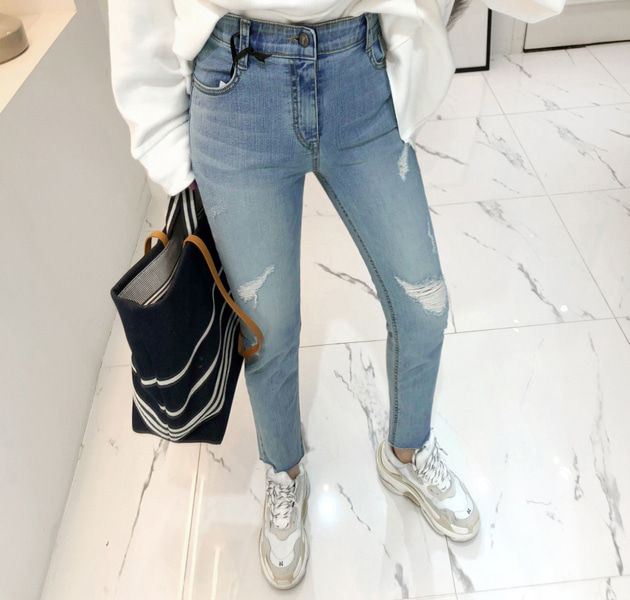Distressed Raw Hem Blue Jeans