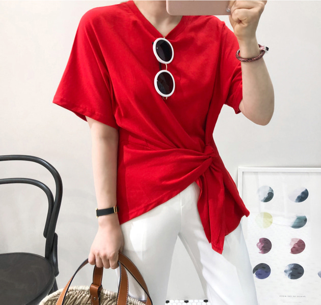 Tie-Side Asymmetrical T-Shirt