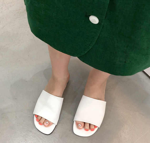 Wide Strap Faux Leather Slide Slippers
