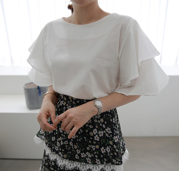 Layered Flutter Sleeve Blouse