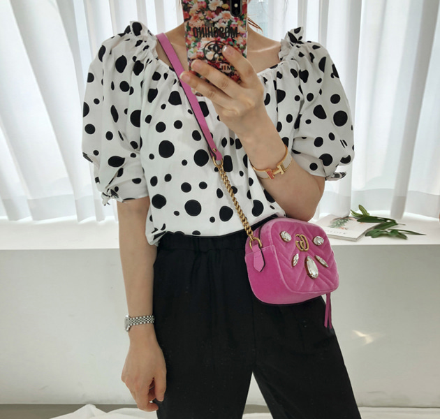 Polka Dot Self-Tie Cuff Blouse