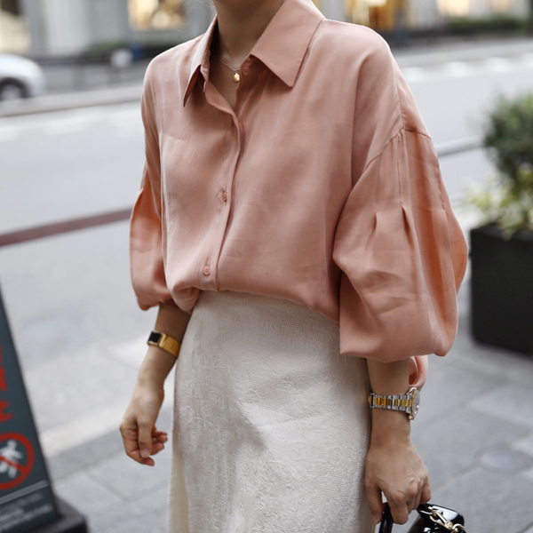 Cuffed Sleeve Button-Up Blouse