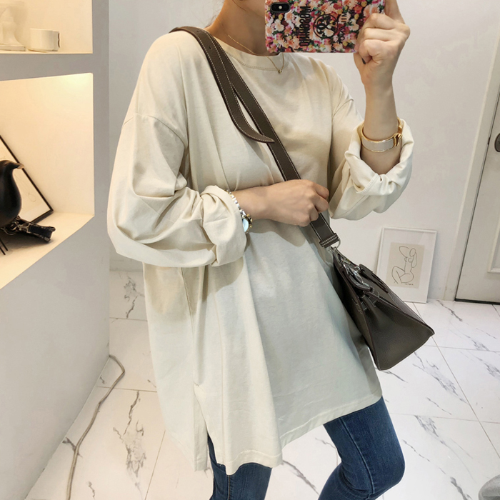 Side Slit Hem Long Sleeve T-Shirt