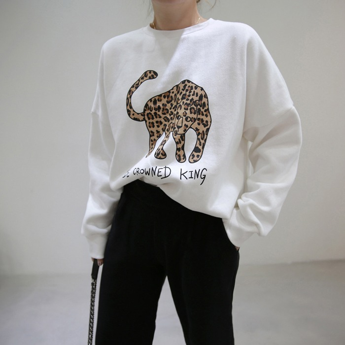 Leopard Animal Detail Sweatshirt