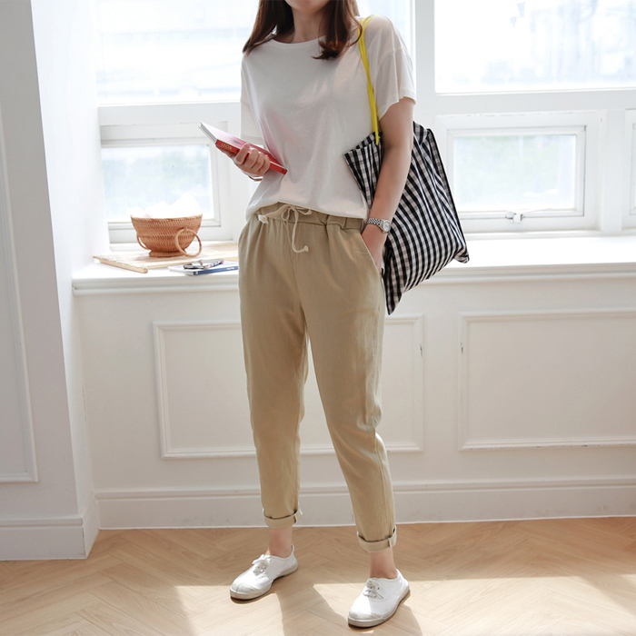 Drawstring Waist Tapered Leg Pants