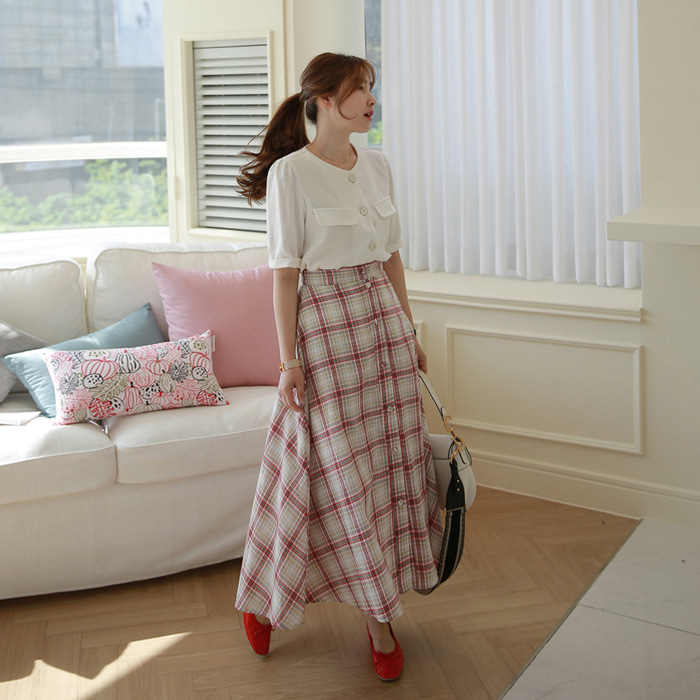 Button Front Check A-Line Skirt
