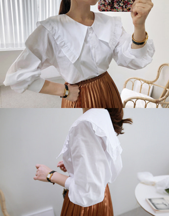 Frill-Trimmed Collar Blouse